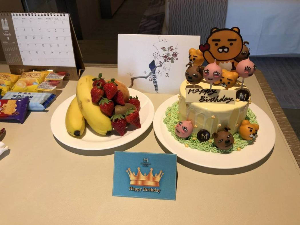 飯店貼心準備生日蛋糕。圖/美福提供