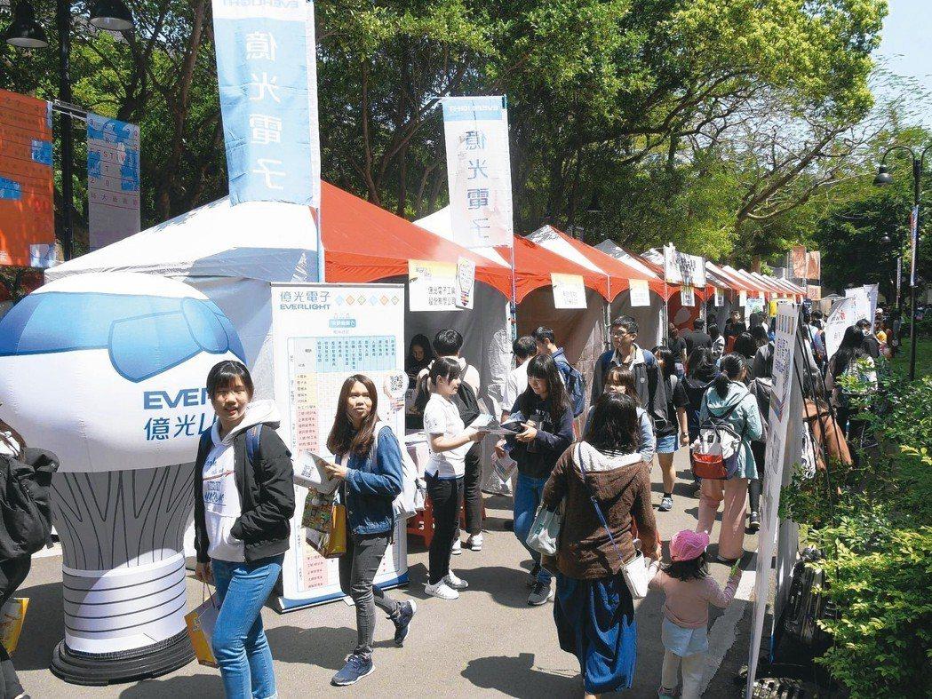 臺師大就業博覽會舉辦多年,每年攤位提前額滿,產業反應熱烈。 臺師大/提供