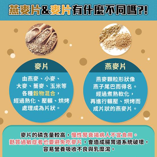 燕麥片和麥片有什麼不同。圖取自食藥署臉書