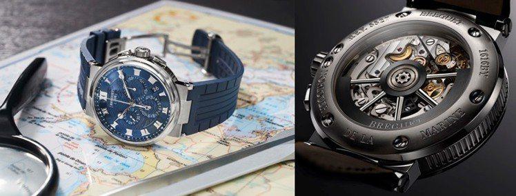 寶璣Marine 5527航海系列雙秒針計時碼表,18K白金表殼搭配藍色金質表盤...
