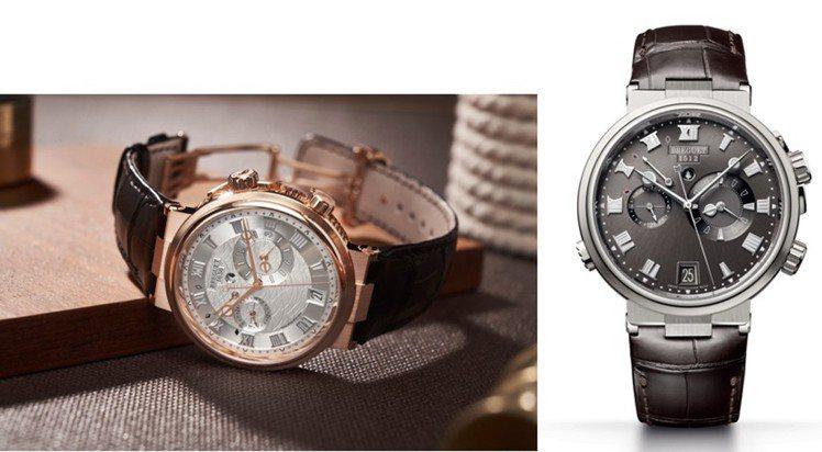 寶璣Marine 5547航海系列兩地時間鬧鈴腕表,18K玫瑰金表殼搭配鍍銀金質...