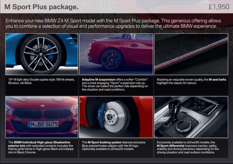 英國BMW提供的Z4 M Sport Plus套件,包括M款主動式懸吊系統、M款剎車卡鉗等,讓M Sport的車型可以更加M性能化。 摘自BMW UK