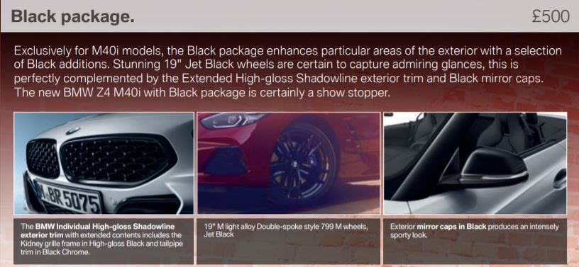 英國BMW提供的Z4 Black套件,顧名思義就是在雙腎形水箱護罩、鋁圈、後視鏡外蓋等飾件上,換上黑色高光澤式樣。 摘自BMW UK