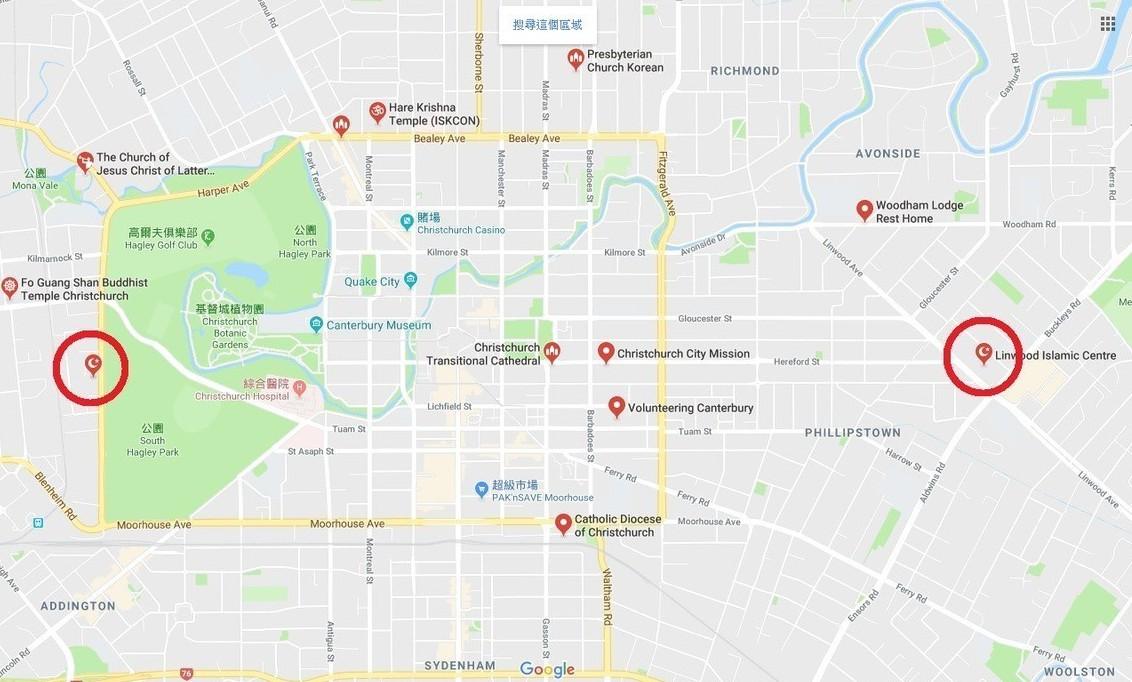 事發地點的兩座清真寺周遭屬繁華地帶,有公園、學校及醫院。圖片來源/GOOGLE ...