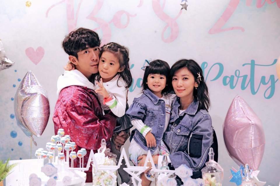 賈靜雯(右起)一家人幫Bo妞慶生。圖/摘自臉書