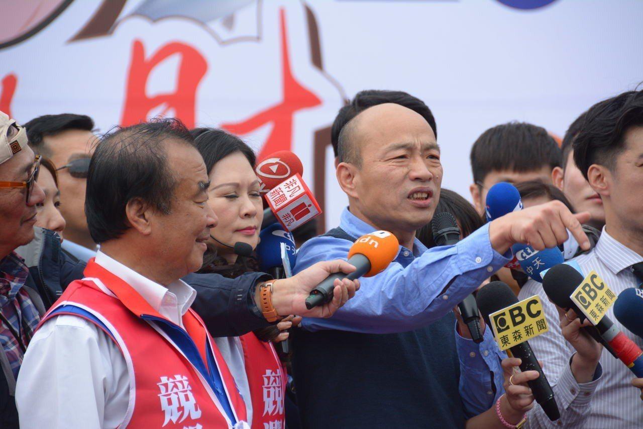 高雄市長韓國瑜三度到台南,為國民黨立委候選人謝龍介站台助選。記者吳淑玲/攝影