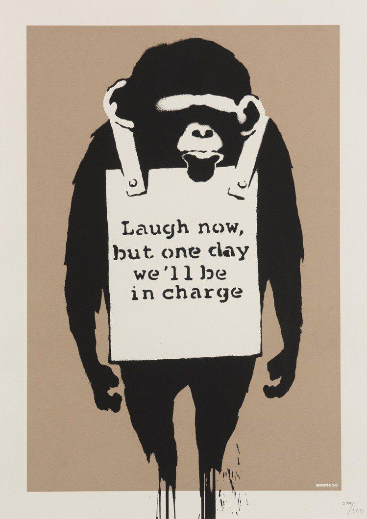 班克斯「笑在當下」。圖/富藝斯提供