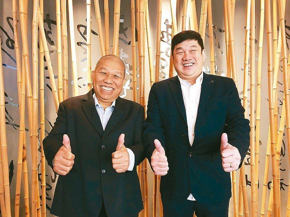 其祥董事長王其祥(左)與總經理王建山昨天表示,公司積極爭取大型品牌客戶,今年力拚...