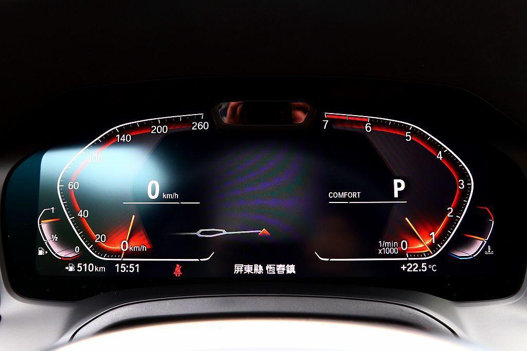 BMW 330i的12.3吋數位虛擬儀表,以獨特的銳角轉折與車頭LED日行燈相呼應。 記者張振群/攝影