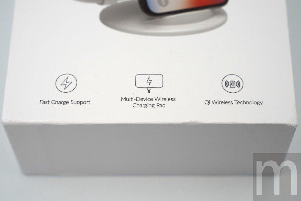 標示支援快速充電、多組裝置同時充電,以及對應Qi無線充電技術規範