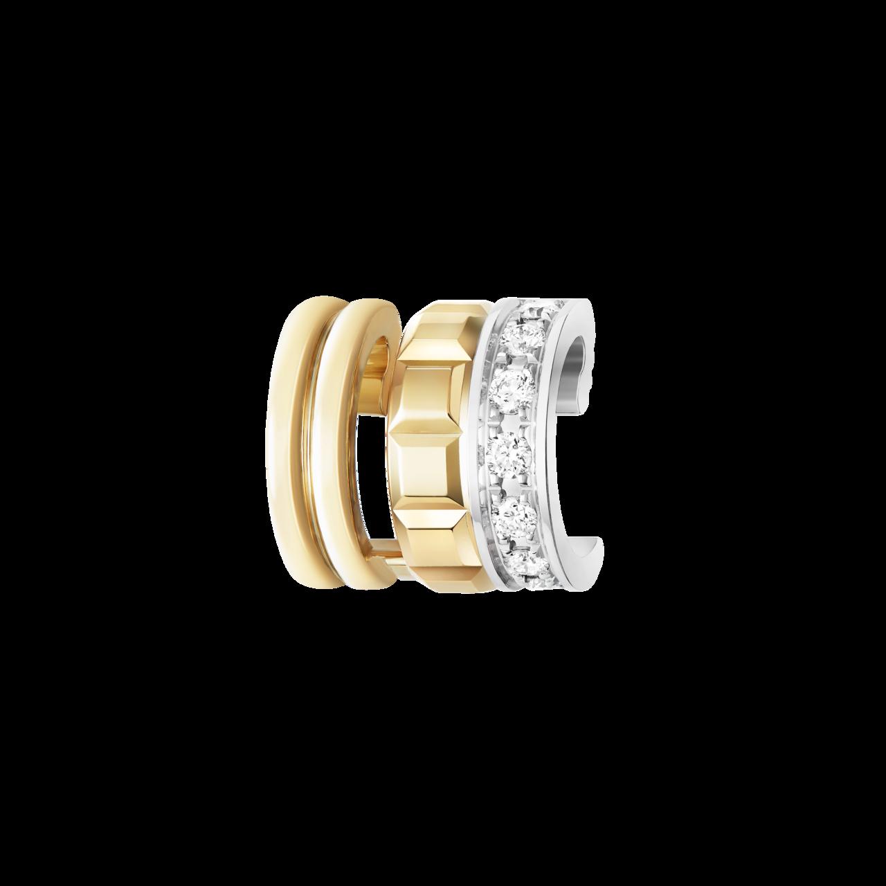 Quatre系列耳夾,18K黃金與白金鑲嵌7顆圓鑽,89,000元。圖/寶詩龍提...