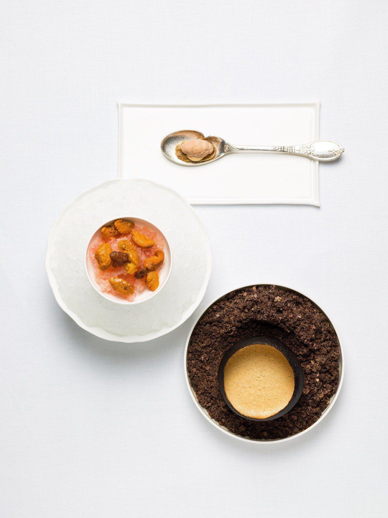 亞尼克菜色「海膽湯、烤葡萄柚盅與海水碎冰」。圖/蘭餐廳提供