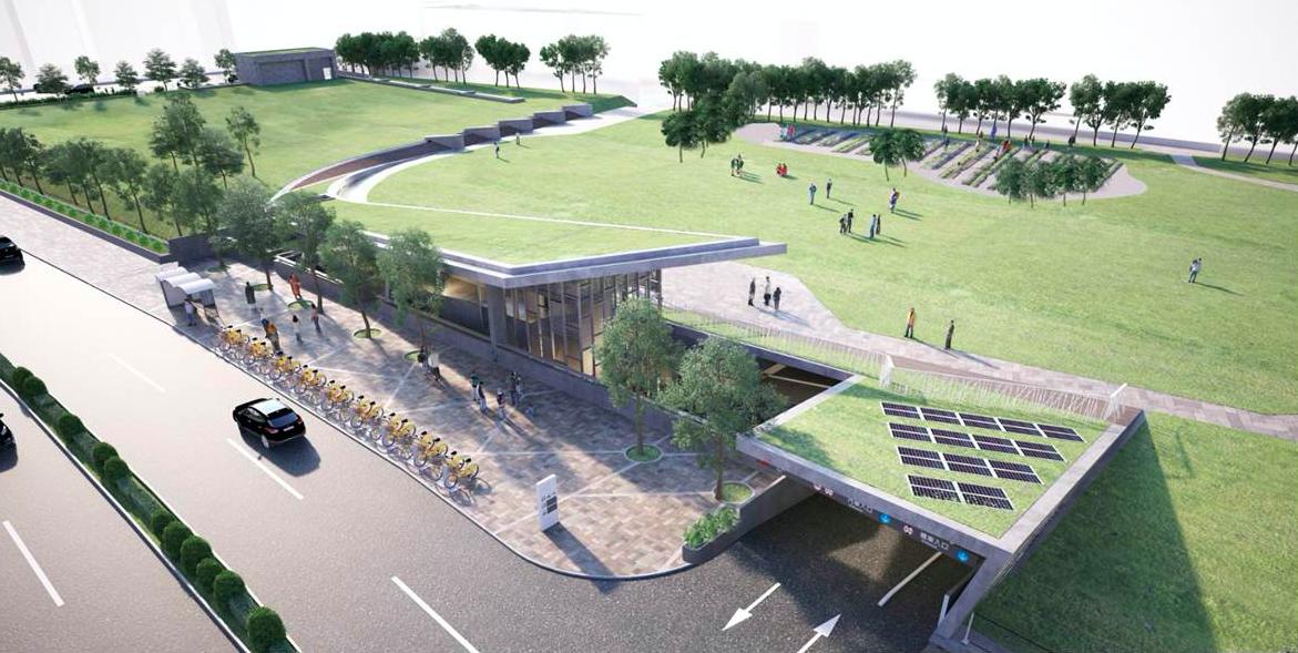 三重商工地下停車場預計今年7月完工,將可提供500個汽車(包含電動汽車)停車位、...