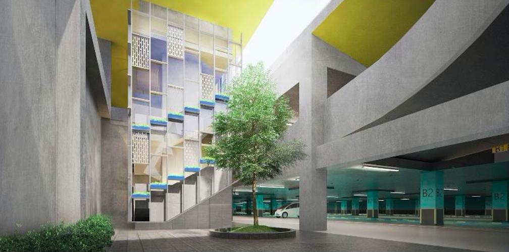 三重商工地下停車場主打「省能源、省資源、低污染」的綠建築設計,將可提供500個汽...