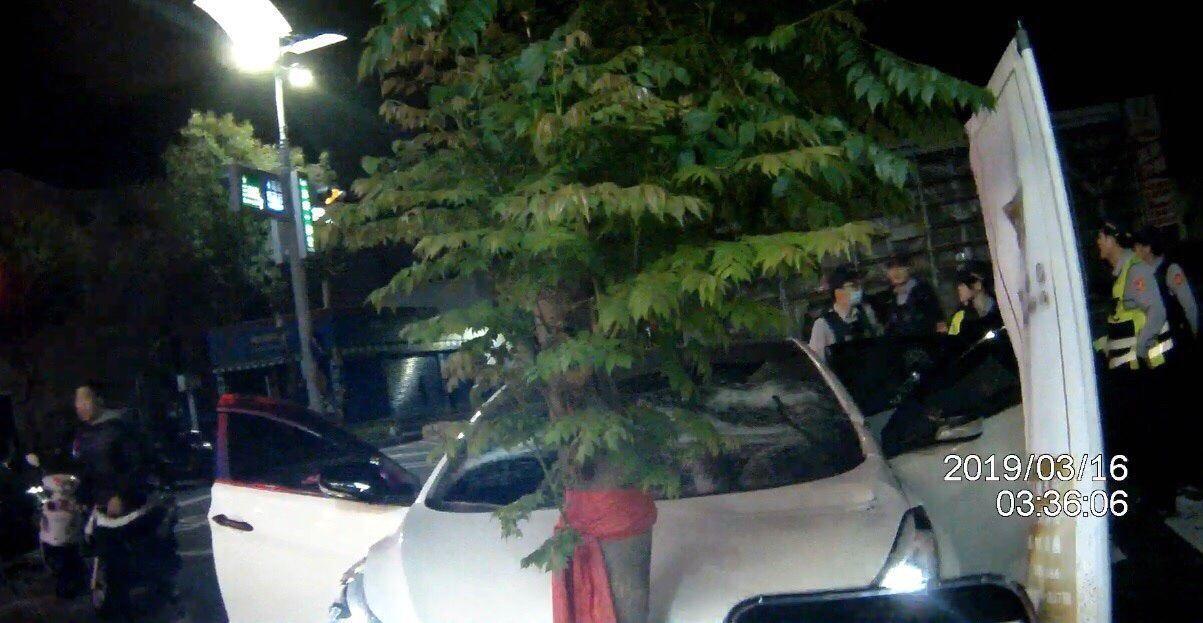 陳姓男子的白色轎車遭追逐,撞上路樹停下,車子遭砸。記者林保光/翻攝