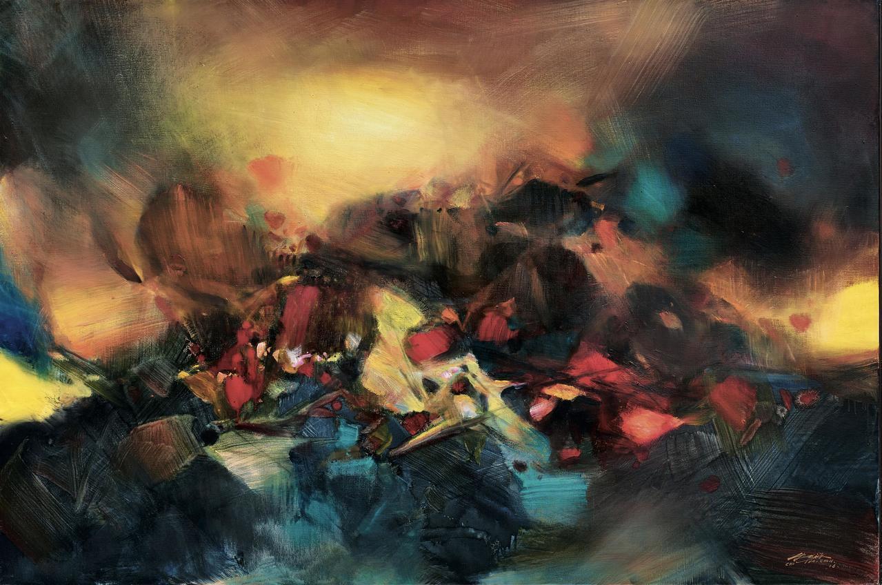 朱德群2006年作品《擴張》,為130 × 195 cm大尺寸之作,估價約3,8...