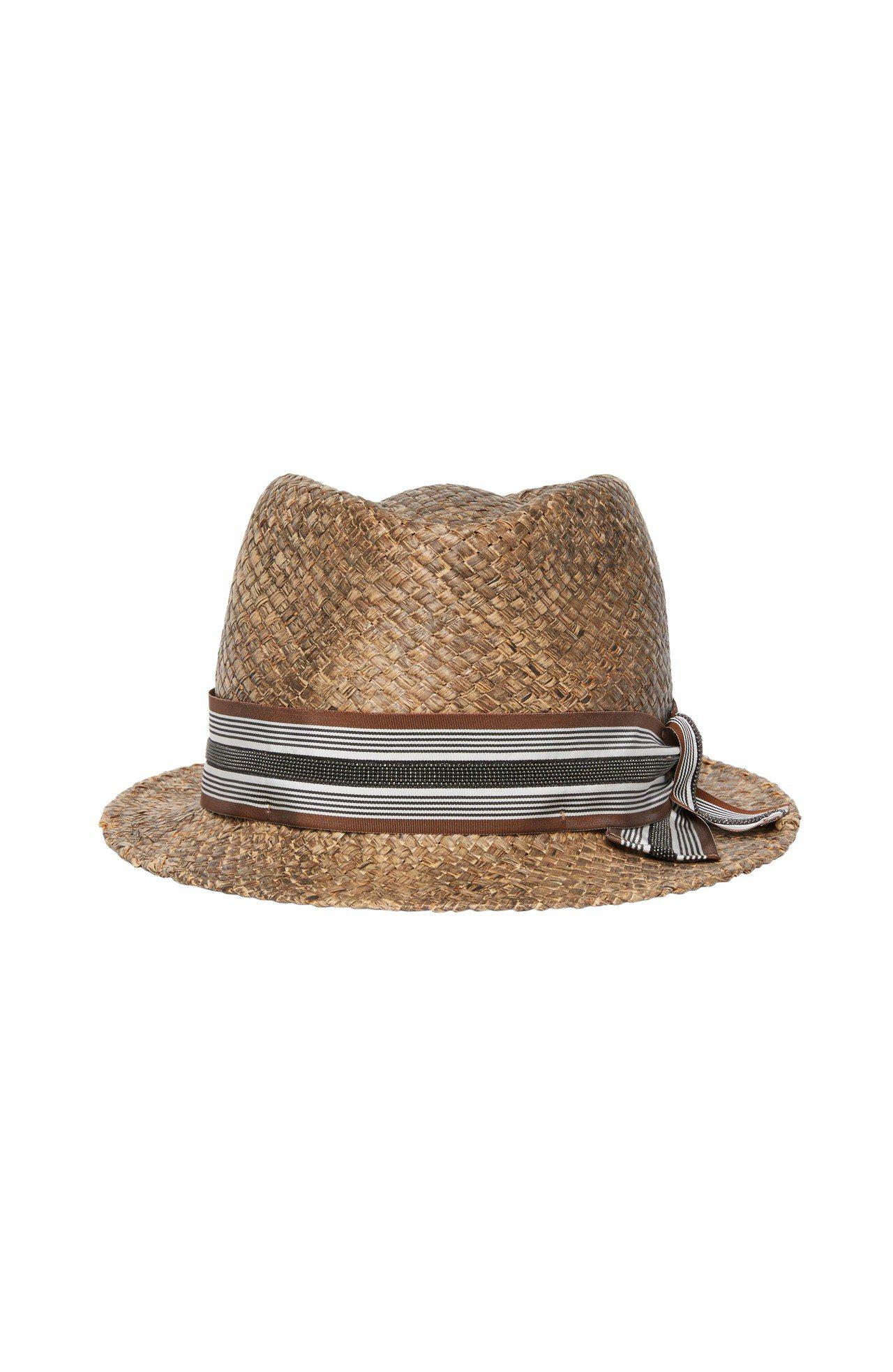 女裝直紋緞帶草帽,售價25,400元。圖/BRUNELLO CUCINELLI提...