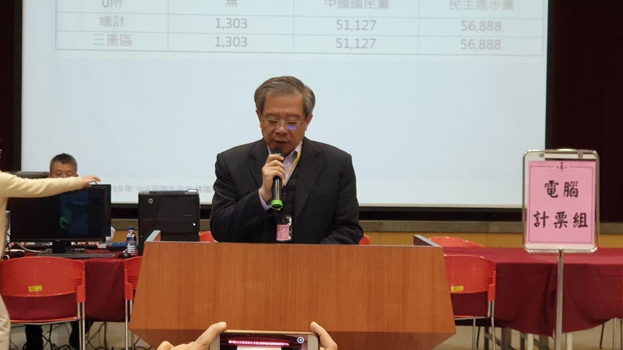 新北三重立委補選結果出爐,新北市選委會公告票數。記者胡瑞玲/攝影