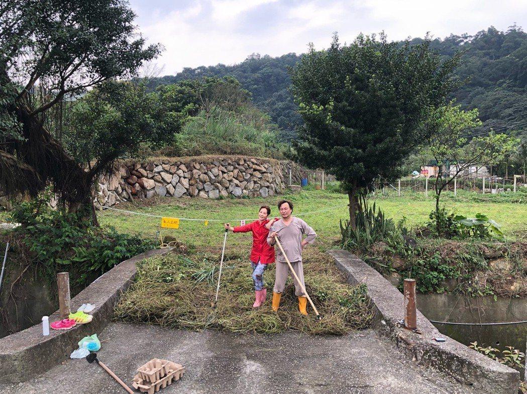 林秀君(左)、丁仰國夫妻腳踩農地的感覺。圖/寶麗來提供