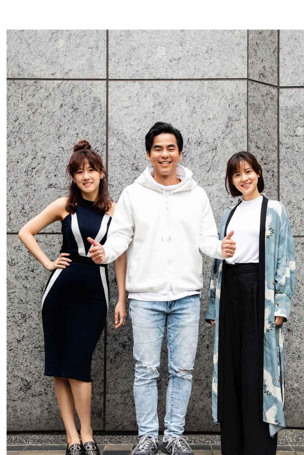 方志友(左起)、柯有倫、林予晞暌違多年,在新戲「天堂的微笑」重聚。圖/TVBS提...
