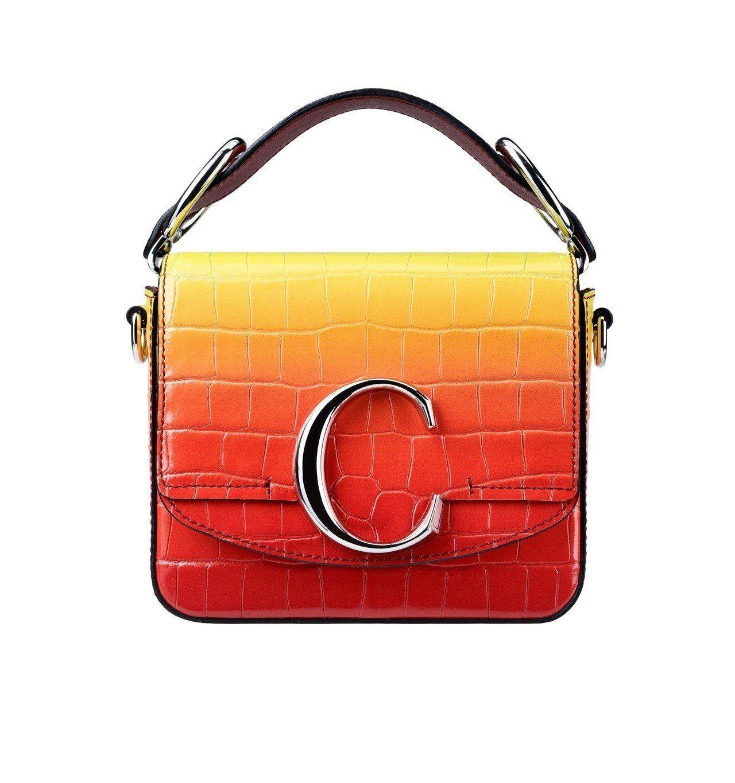 Ella使用款Chloé C Mini漸層夕陽色肩背手提兩用包,售價52,50...