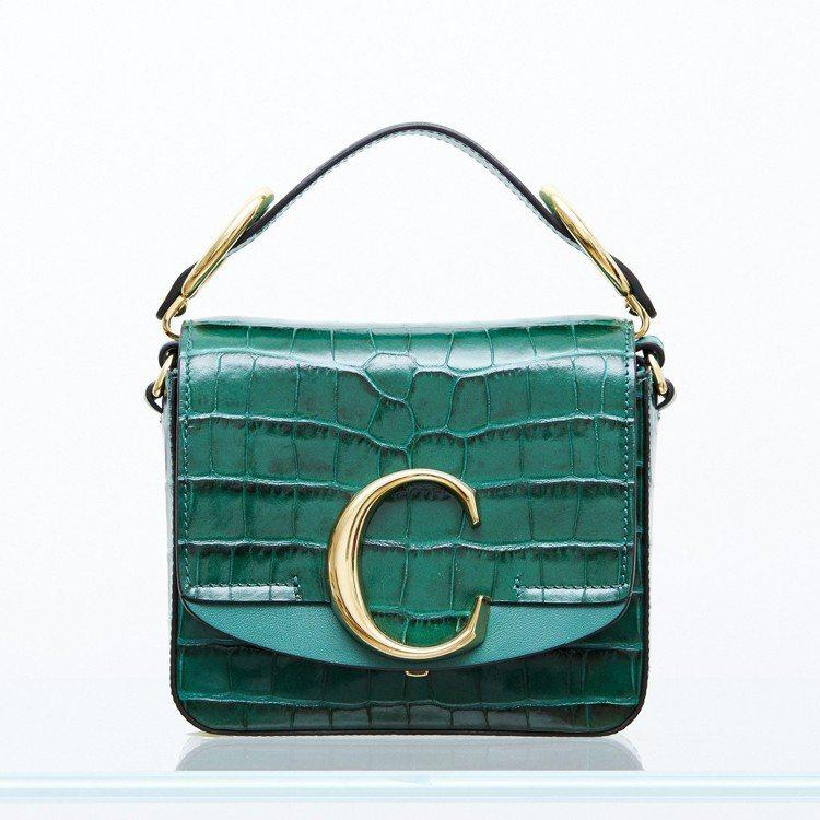 Melody使用款Chloé C Mini豔綠色肩背手提兩用包,售價52,50...