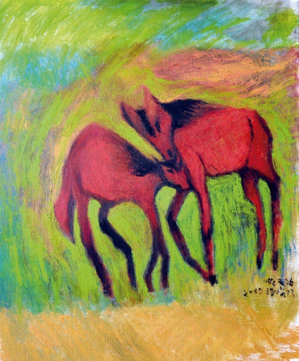 由於我喜歡馬的造型,因此在病房中,我用素描畫下馬,回來後,再畫成油畫。我記得畫家...