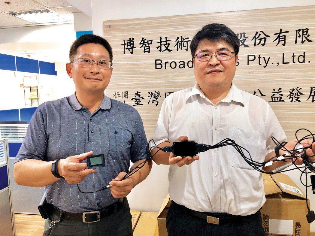 智先進科技執行長張介嶺(左)與營運長翁立昌,展示公司主力產品IoT物聯網前端嵌入...
