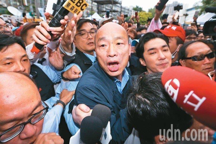 高雄市長韓國瑜賣力輔選。 圖╱聯合報系資料照片