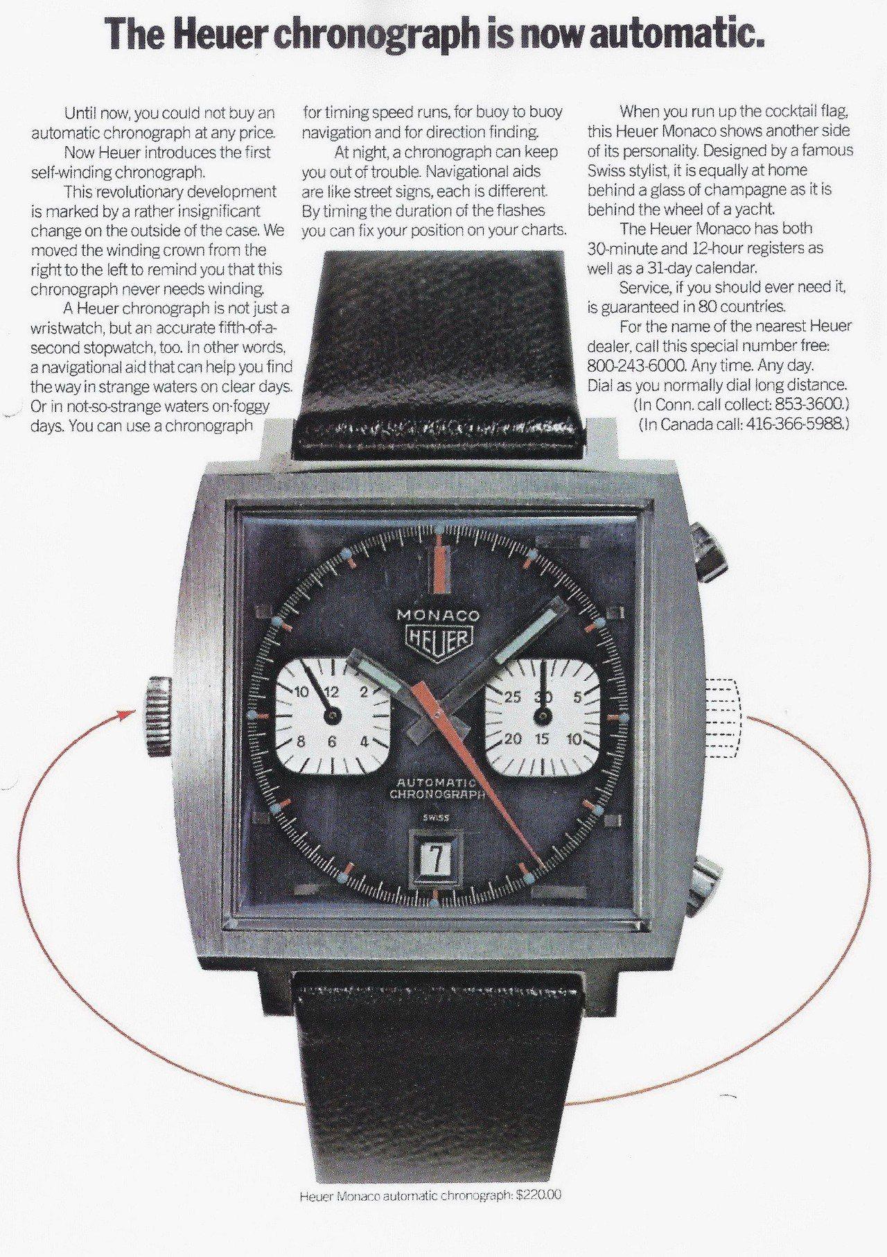 在1969年時,MONACO腕表在媒體上的宣傳,說明了表冠不同的位置。圖/TAG...