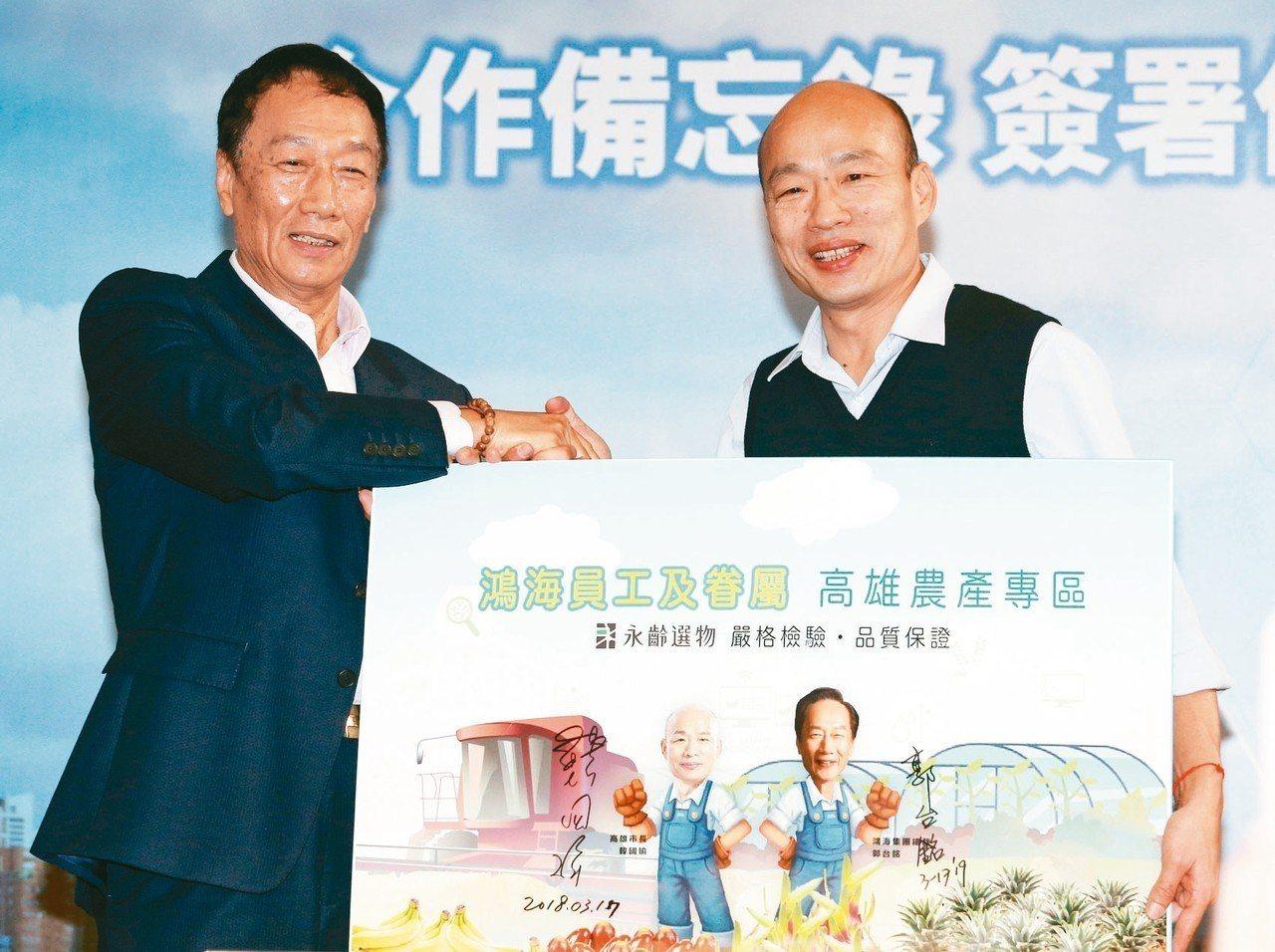 鴻海集團總裁郭台銘(左)昨天南下跟高雄市長韓國瑜(右)見面,郭台銘強調未來會大力...