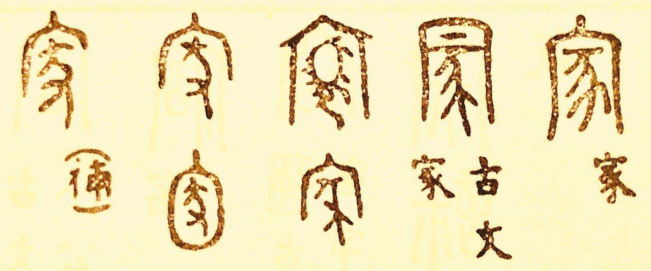 「家」字的隸書篆書等寫法。(圖/翻拍自大孚書局《篆隸楷行草大字典》)