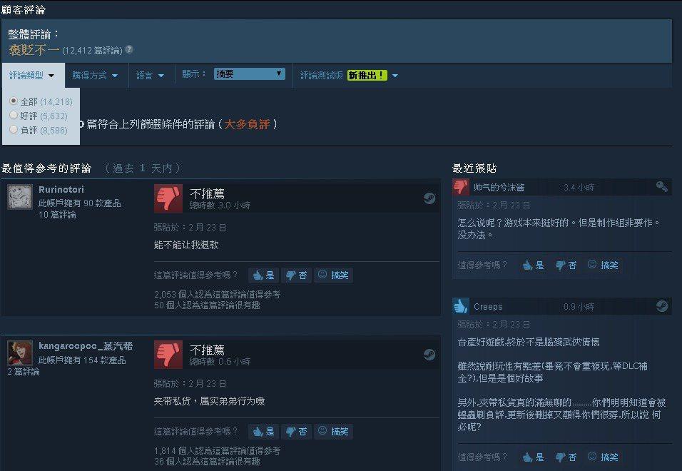 《還願》先前於短時間在Steam頁面遭洗大量負評。
