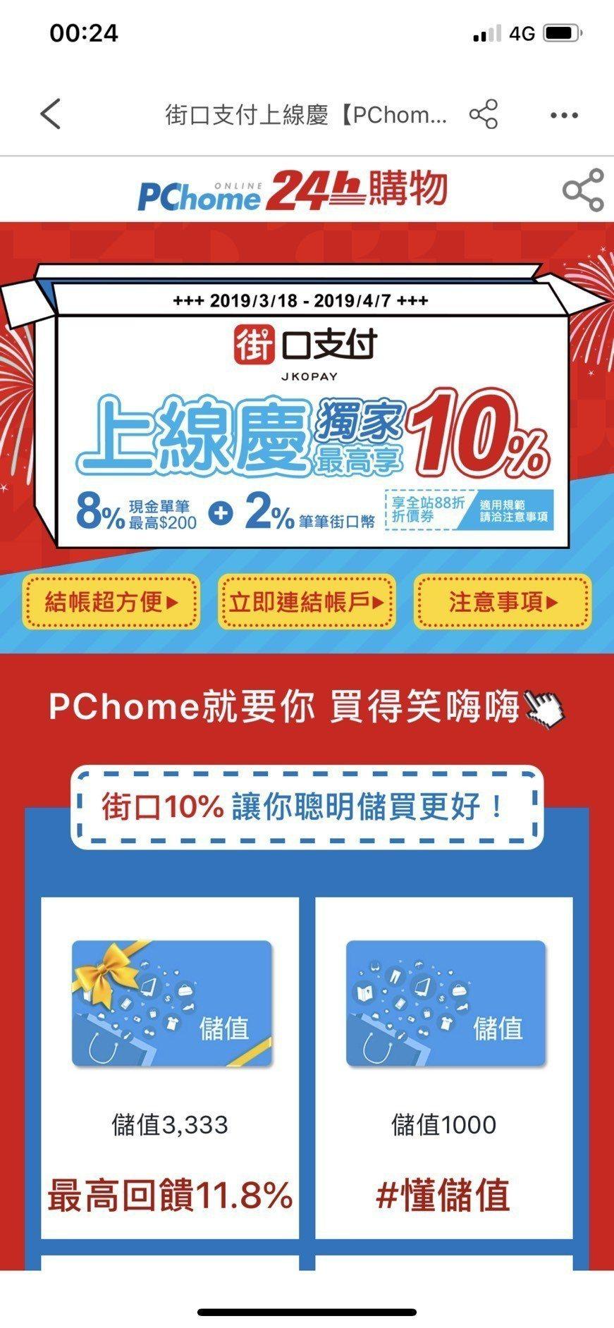 PChome 24h購物即日起至4月7日,盛大祭出「8%現金回饋週週享(單筆回饋...