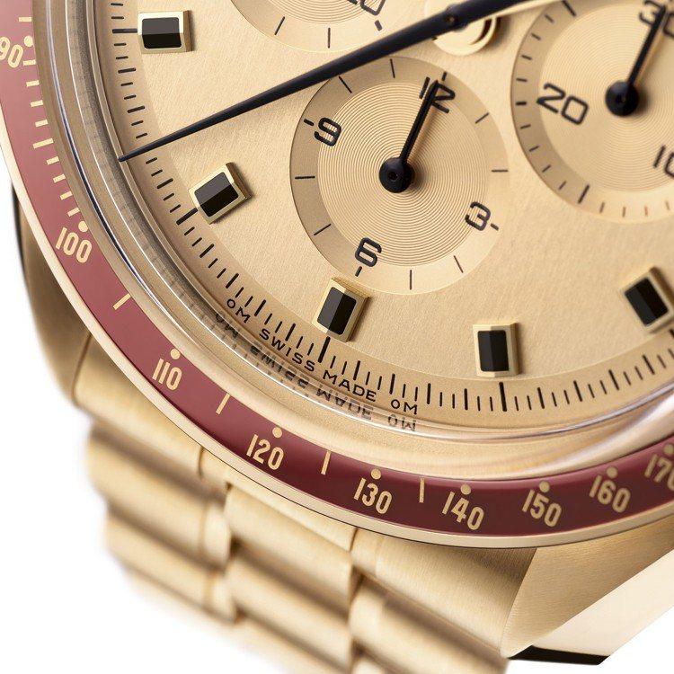 歐米茄全新的限量超霸計時碼表,設計細節原汁原味的復刻了1969年推出的款式。圖/...