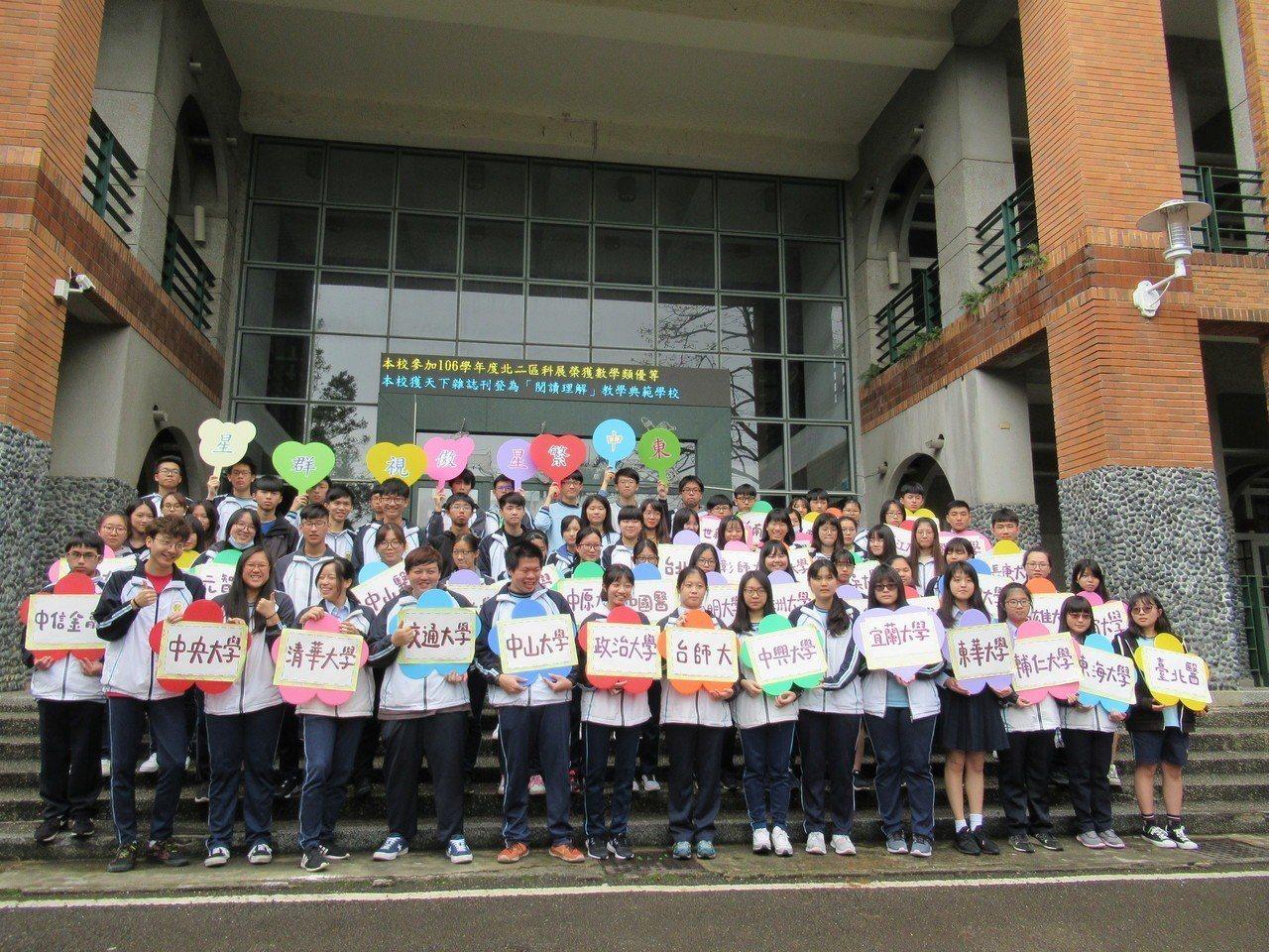 新竹縣竹東高中今年繁星計畫大放異彩,摘了82顆星星,國立大學37位,連續13年大...