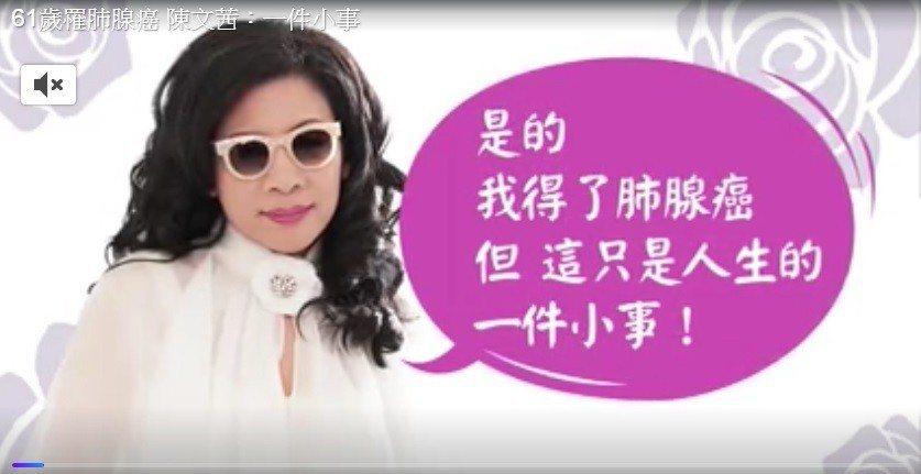 陳文茜親口證實罹患肺腺癌。圖/摘自YouTube