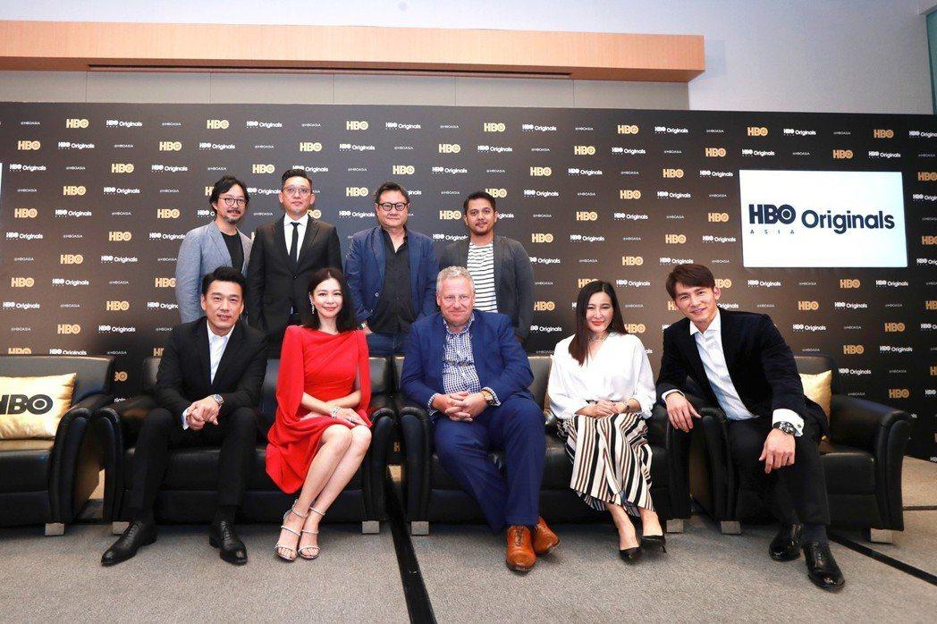 HBO亞洲高層與新戲的主角、導演一起出席記者會。圖/HBO提供