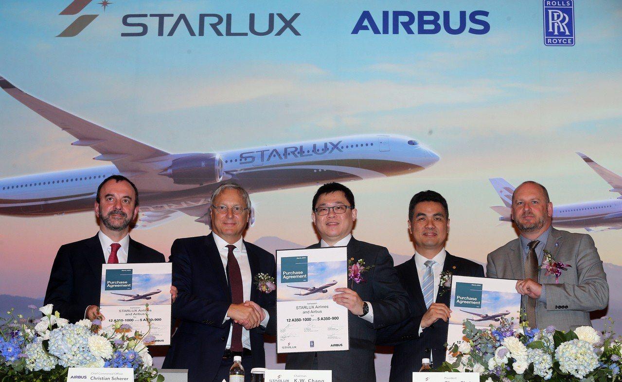 星宇航空19日與空中巴士(Airbus)簽約,購買17架A350XWB飛機,董事...