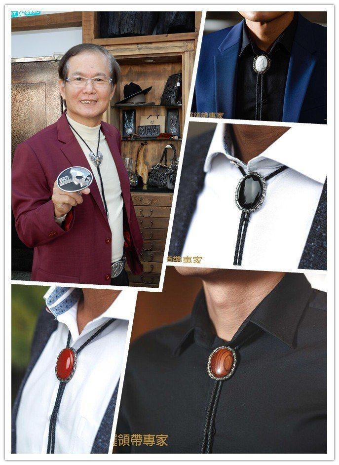 金瑞瑩董事長黃進興(左上)與時尚業往來近40年,全身散發時尚感,自然成為保羅領帶...