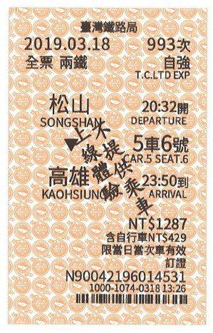 台鐵第四代對號車票。 圖/讀者提供