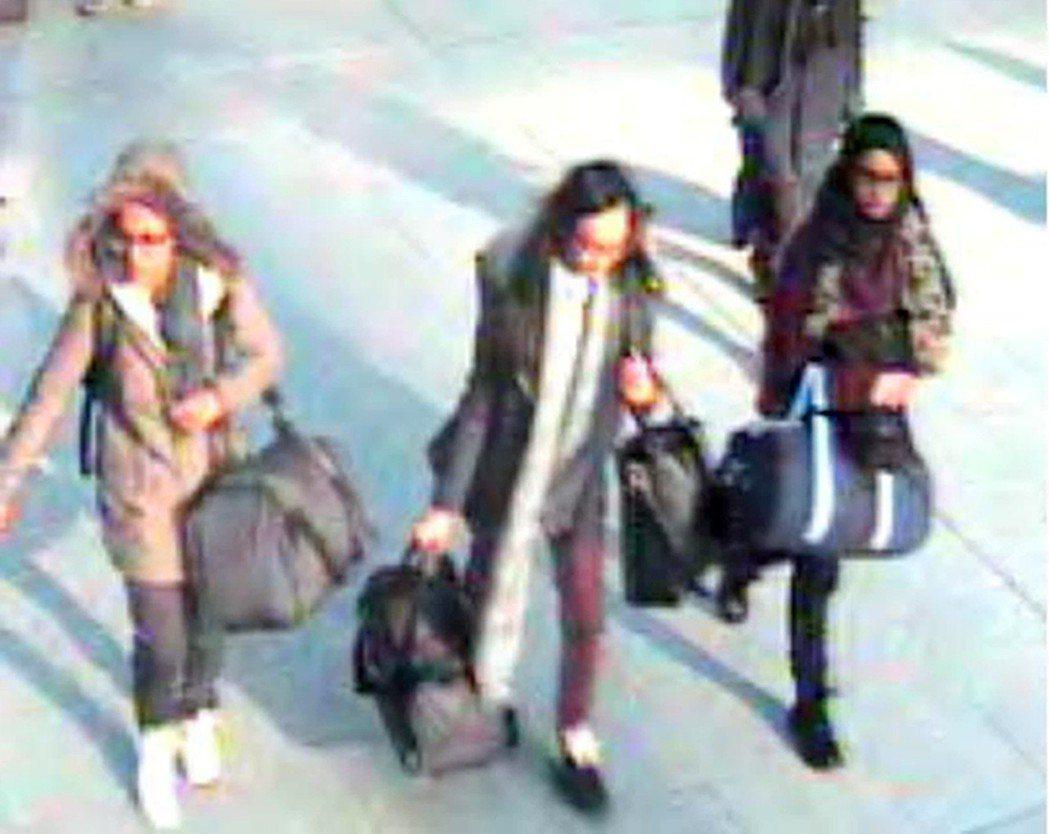 2015年2月17日,倫敦蓋威克機場。3名英國少女——阿巴塞(Amira Aba...