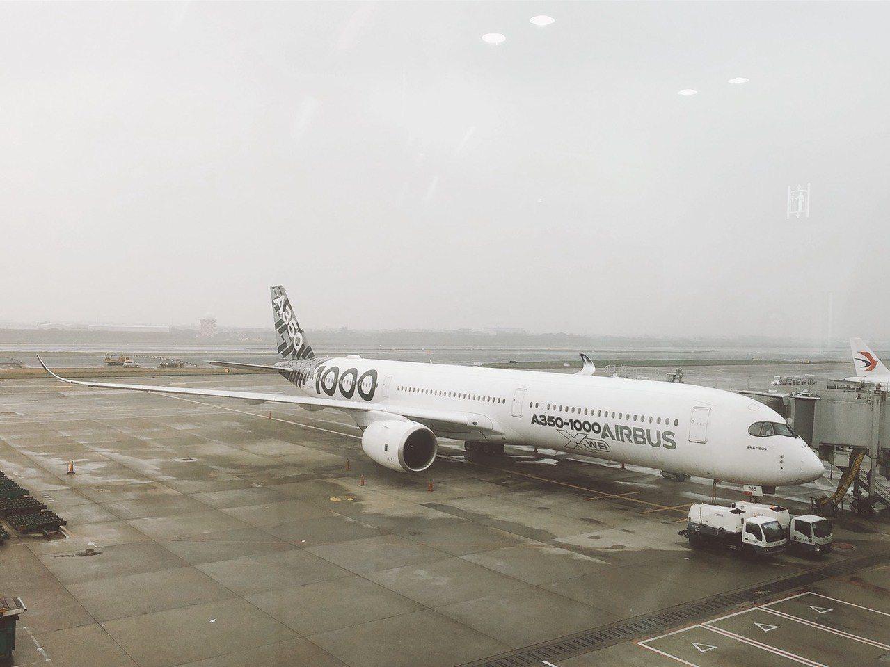 空中巴士A350-1000去年首度在台亮相。 圖/聯合報系資料照片