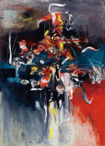 李仲生 抽象畫 1971 油畫 94.2 x 68.3 公分 台...