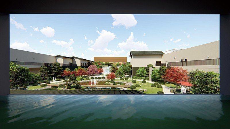 5樓的「庭見溫泉」能一面泡湯、一面欣賞屋頂的天空庭園。