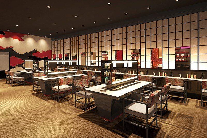 約100平方公尺大的梳妝室,堪稱日本最大規模。