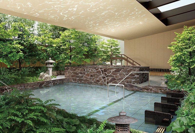 在露天風呂享受地底湧出的弱鹼性頂級天然溫泉。