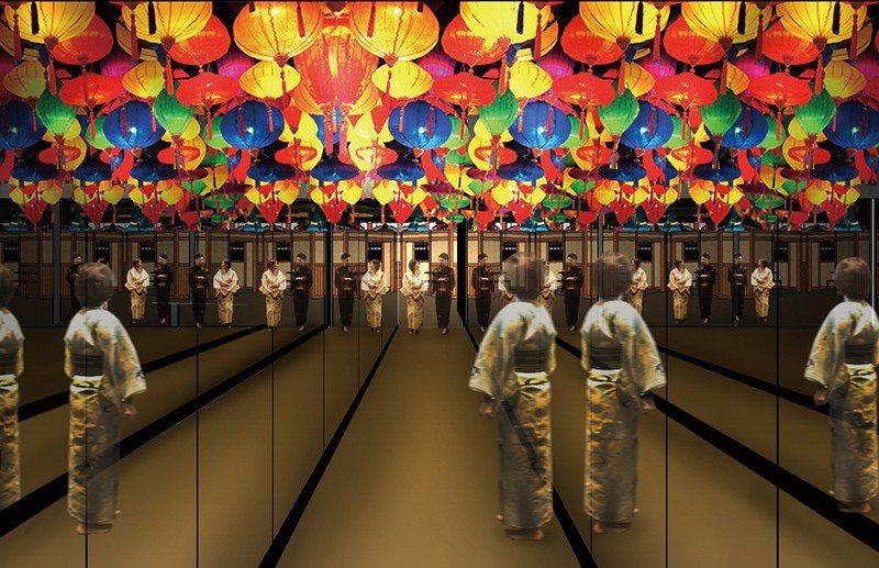 連結SPA區的通道以七彩的燈籠裝飾,令人雀躍。