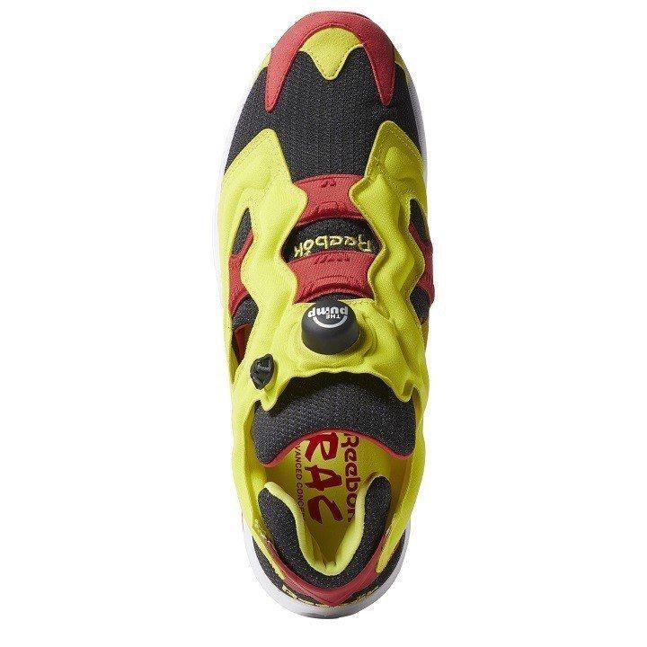鞋身大膽的檸檬黃與正紅色的配色搶盡目光。圖/Reebok提供