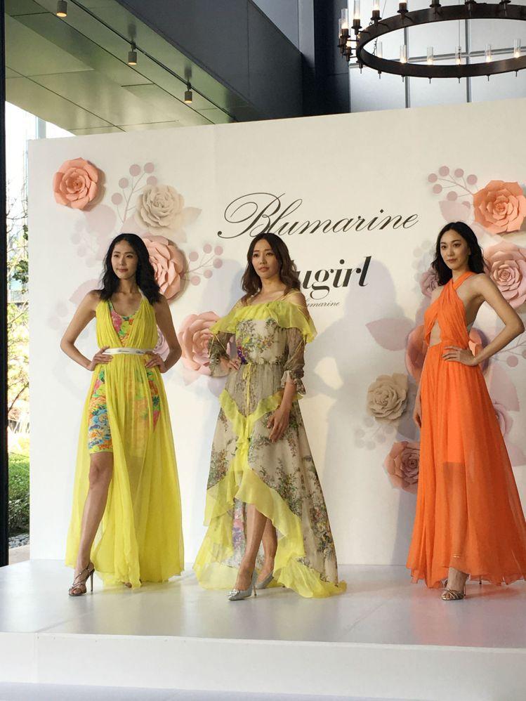 時尚品牌Blumarine發表春夏新裝,由名模王心恬帶領凱渥名模展演。記者吳曉涵...